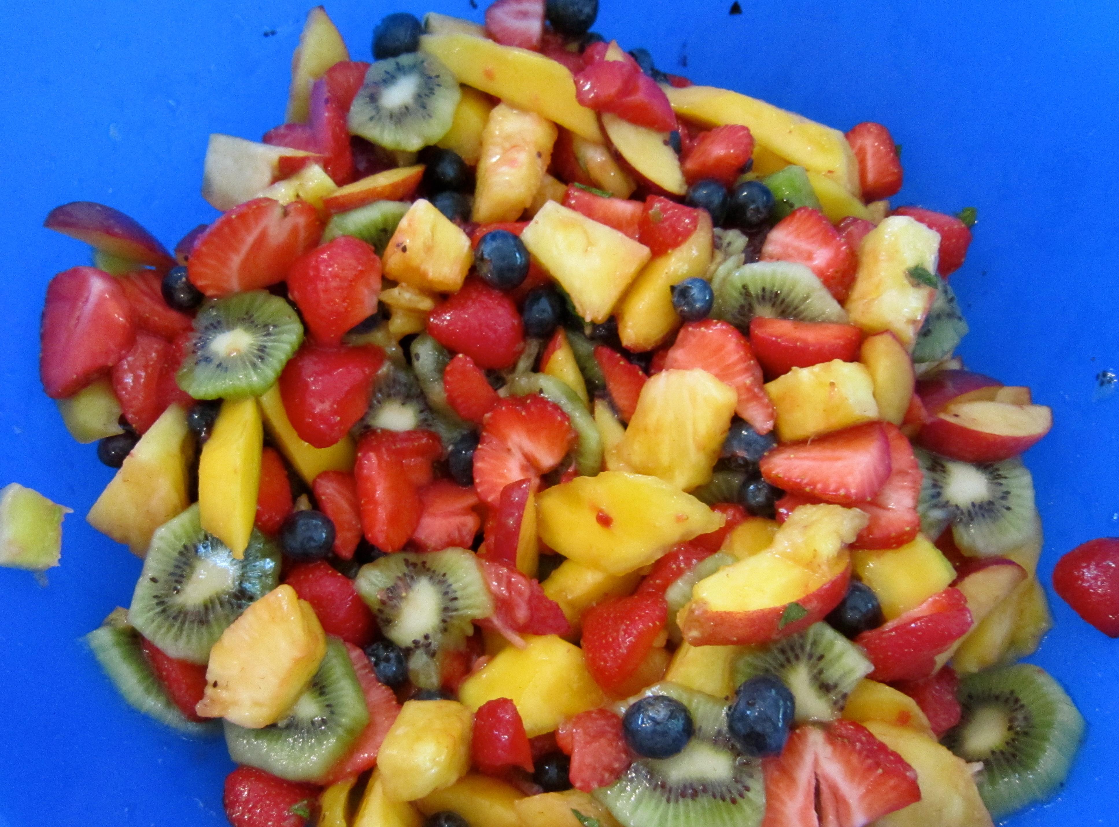 Seasonal Fruit Salad with Honey-Mint Lime Dressing
