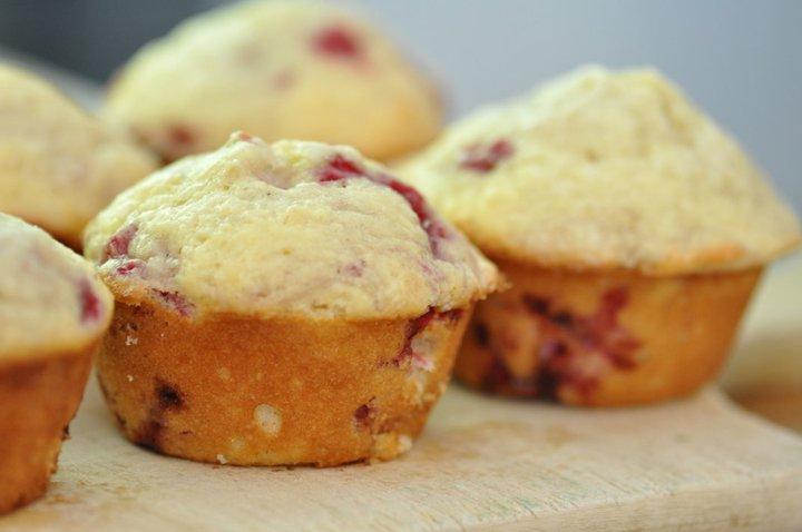 Lemony Raspberry and Rhubarb Muffins