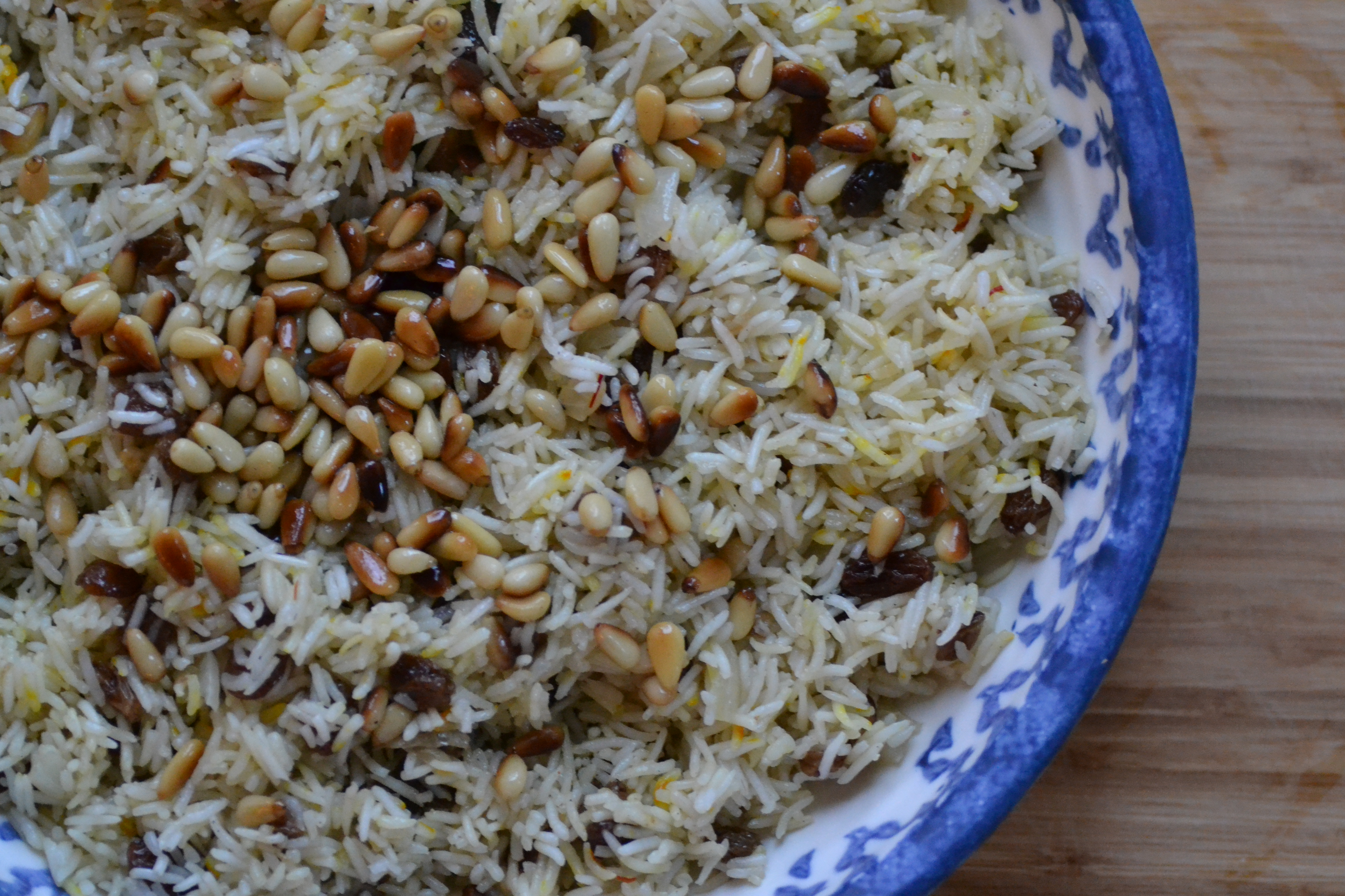 Saffron Rice with Golden Raisins and Pine Nuts - Warm Vanilla Sugar