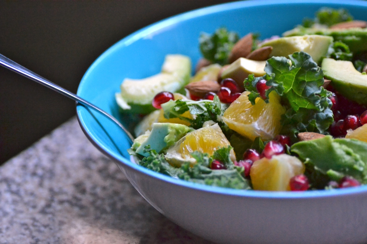Kale Salad with Oranges, Almonds and Avocado – Warm ...